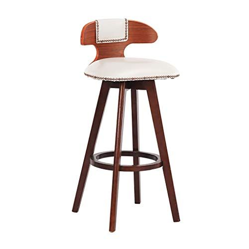 Fkdebar Wood White Bar Stool Bar Chair High Stool Swivel Chair With Backrest 60 70 80cm Color A Size Retro Bar Stools Bar Chairs Kitchen White Bar Stools