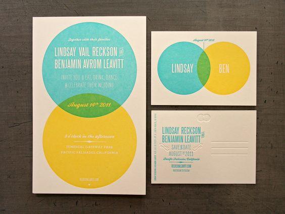 blue and yellow venn diagram wedding invitation