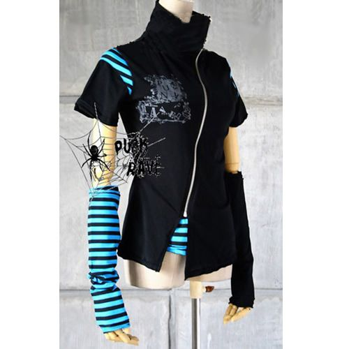 Emo clothes Black and blue and Blue stripes on Pinterest