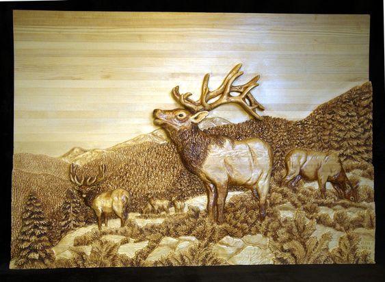 Elk relief carving wildlife wood carvings pinterest