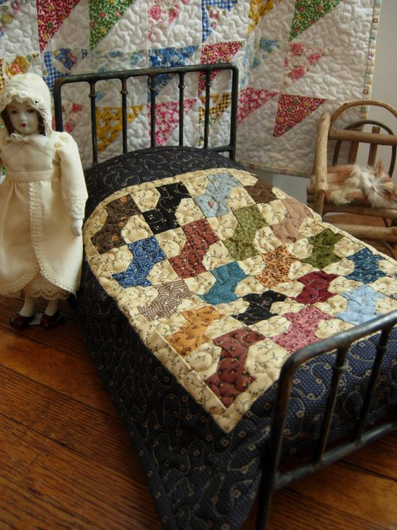 Civil War Doll Bed Quilt Doll Quilt Miniature by WoodenNeedleNook: