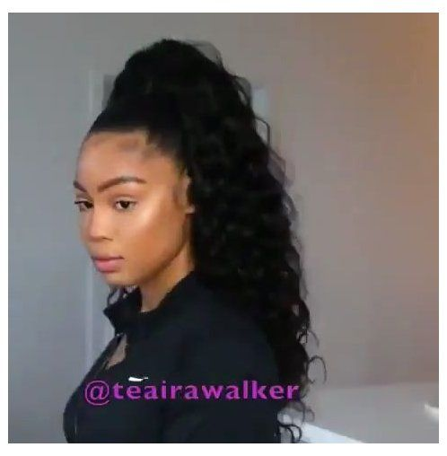 High Ponytail On Natural Hair Pinned By Bobby T Natural Hair Updo With Weave Naturalh Hair Ponytail Styles High Ponytail Hairstyles Long Ponytail Weave