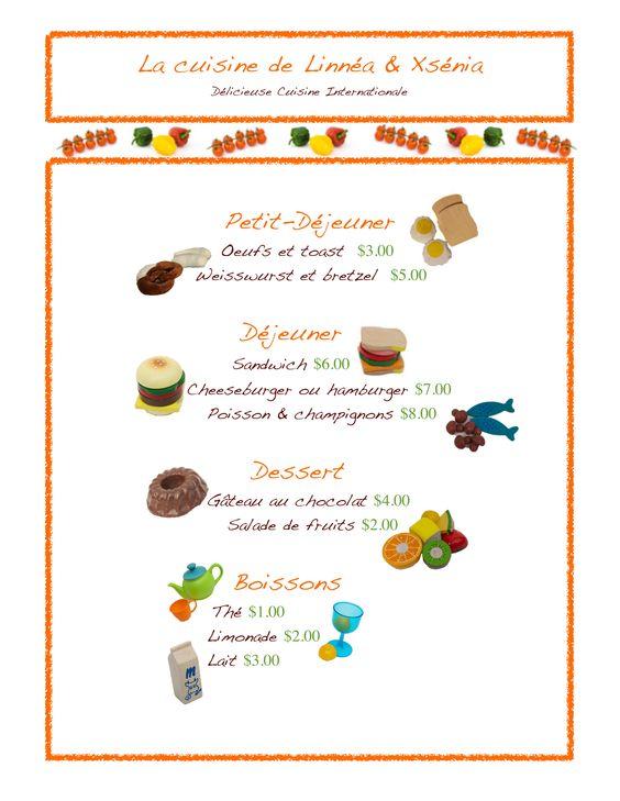 Menu de restaurant en français | Teaching-Activities-Food | Pinterest ...