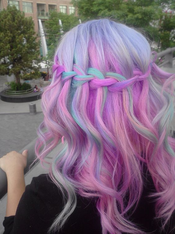 Pink purple rainbow pastel hair in waterfall braided hairstyle ♡ (*^_^*) ♡ i'm dying from the hair feels !!