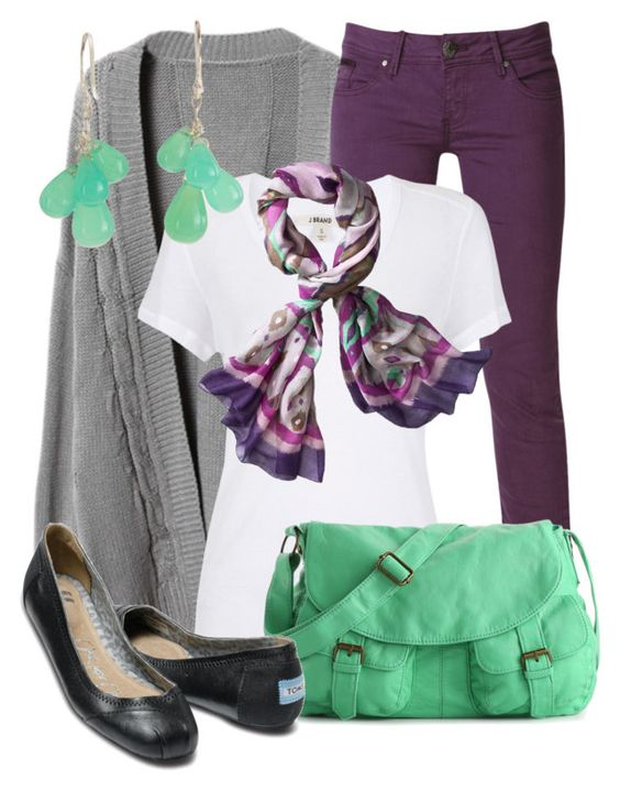 Purple & Green by qtpiekelso on Polyvore featuring J Brand, Raxevsky, TOMS, Poppie Jones, Ten Thousand Things and Mossimo