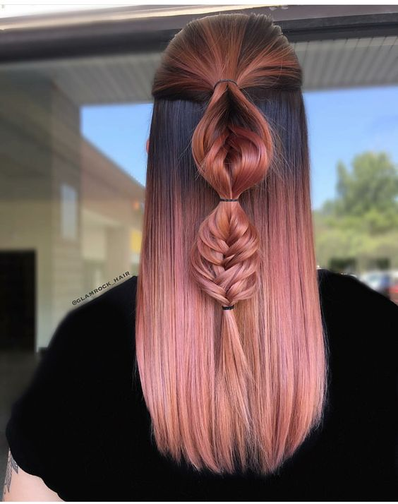 Mauve hair from dark roots to rose gold tips with unique braid. Beautiful! #braid #rose #hair