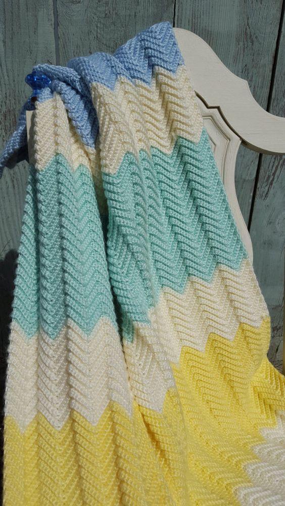 Handmade Crochet Baby Blanket by silvertreadle on Etsy