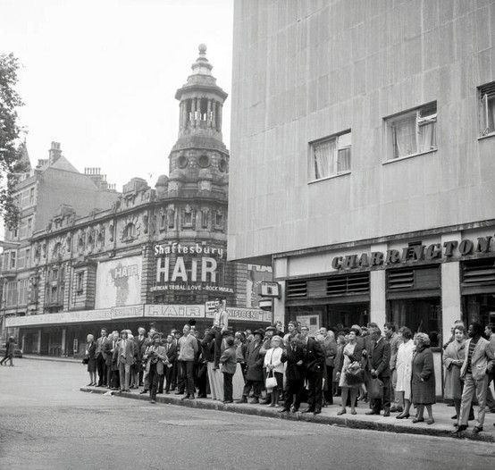 Hair opened at the Shaftesbury Theatre in London on September 27, 1968. The opening night was delayed until the abolition of theatre censorship in England under the Theatres Act 1968. The original London cast included Sonja Kristina, Paul Nicholas, Melba Moore, Elaine Paige, Paul Korda, Marsha Hunt, Floella Benjamin, Alex Harvey, Oliver Tobias, Richard O'Brien and Tim Curry.  The musical was forced to close by the roof of the theatre collapsing in July 1973.
