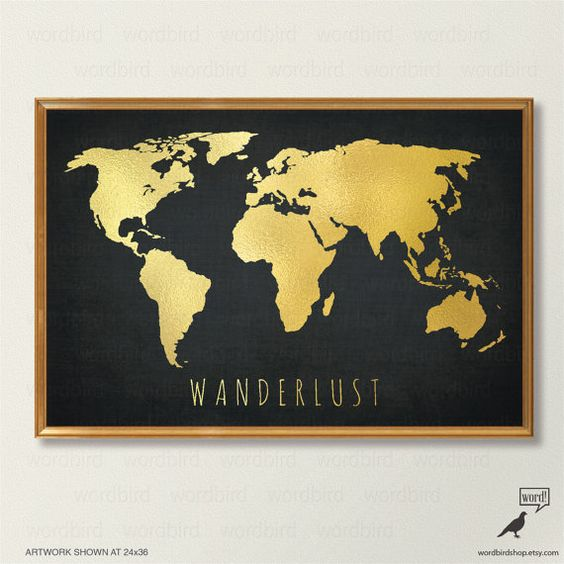 Black White Gold Bedroom Wall Decor Ideas For Bedroom Pinterest Bedroom Colors For Walls Bedroom Paint Ideas India: Chic Gold World Map, World Map Print, Black And Gold Home