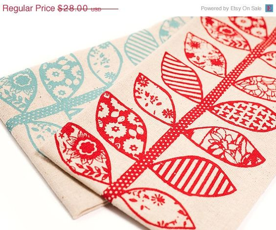 ON SALE Hand Printed Cotton Tea Towels Set of Two Red by annajoyce, $21.00 (stamp pattern inspiration)