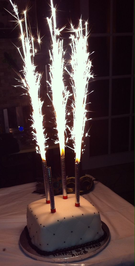 Quilted black and white birthday cake with sparkler firework candles http://kathyskakery.com