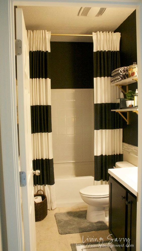 Long shower curtains extra long shower curtain and shower for Small bathroom high ceiling