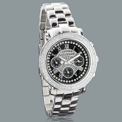 Mens Ladies Diamond Watches by Luxurman 0.3ct Stainless Steel Band