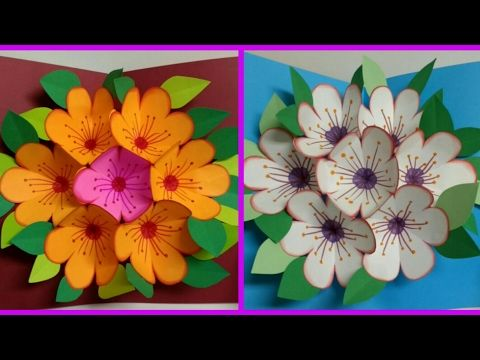 Diy Art And Crafts Howto Make Pop Up Flower Surprise Flower Bouquet Card Father S Day Card Youtube Pop Up Flower Cards Flower Cards Cards Handmade
