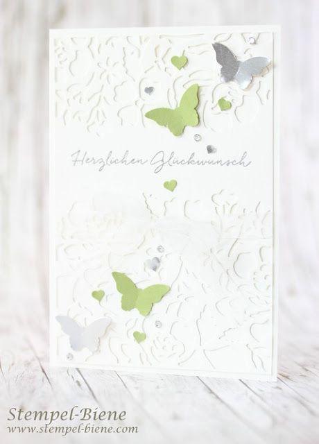 Hochzeitskarte mit Stampin' Up! Thinlits Formen Florale Fantasie