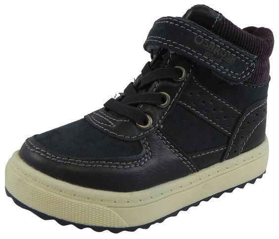 OshKosh Boy's Felix Corduroy Stretch Laces Hook and Loop High Top Sneakers Navy