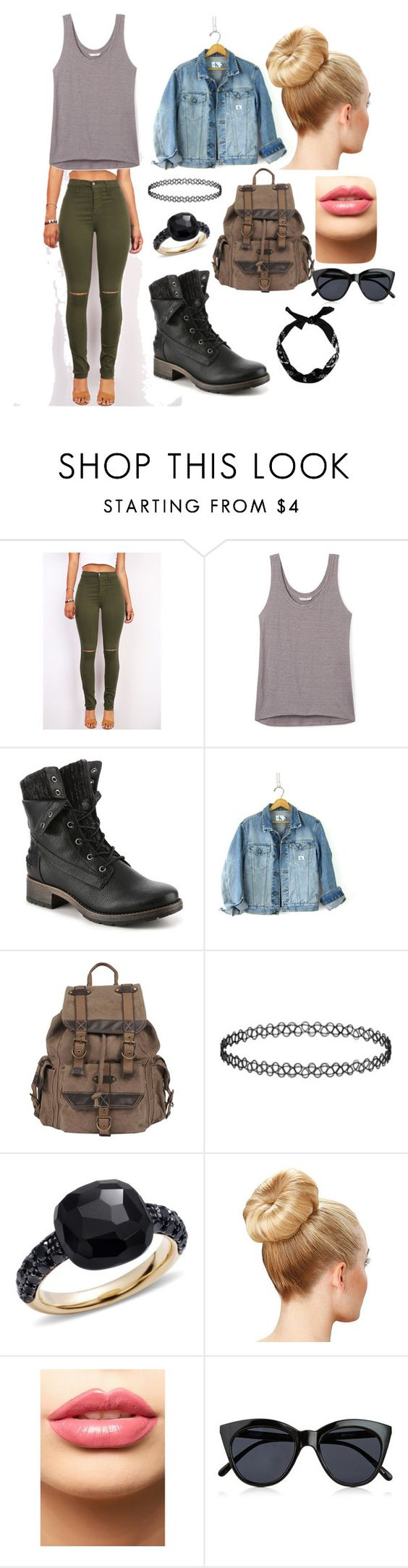 """""""Camp girl 101"""" by pintrestobsessed ❤ liked on Polyvore featuring Rebecca Minkoff, Calvin Klein, Wilsons Leather, Pomellato, LASplash, Le Specs and New Look"""