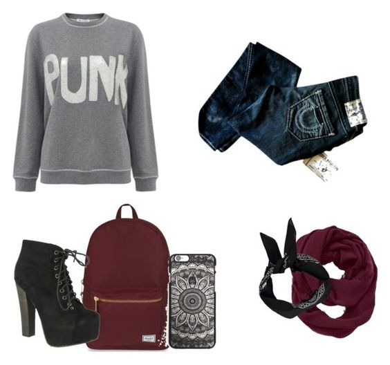 """back to school"" by larica-527 ❤ liked on Polyvore featuring Bella Freud, Herschel Supply Co., True Religion, Breckelle's, Athleta and Boohoo"