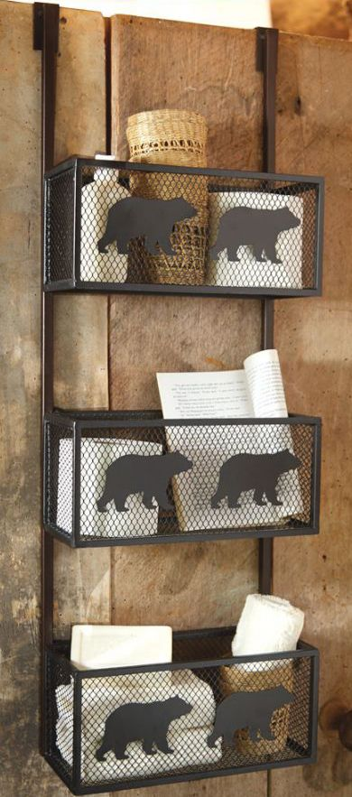 Rustic bear bathroom door shelf rustic home decor for Rustic bear home decor