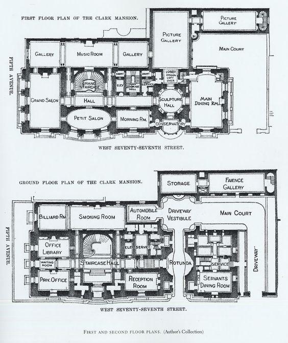 Mansion Floor Plans  William A  Clark House  New York   House    Mansion Floor Plans  William A  Clark House  New York