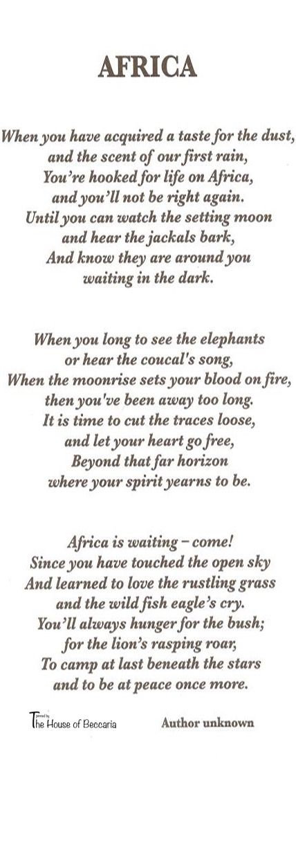 ~Africa - Poetry in motion | House of Beccaria#