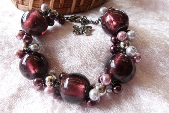 Plum glass foil beads and small glass bead by AlluringBracelets