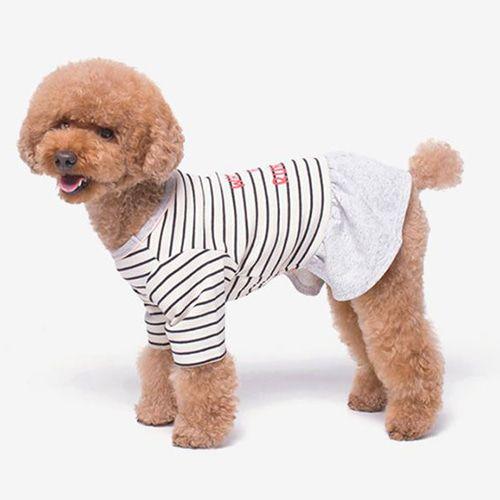 Becoming Studio Running Stripe Dog Dress Black Dognpet Pet