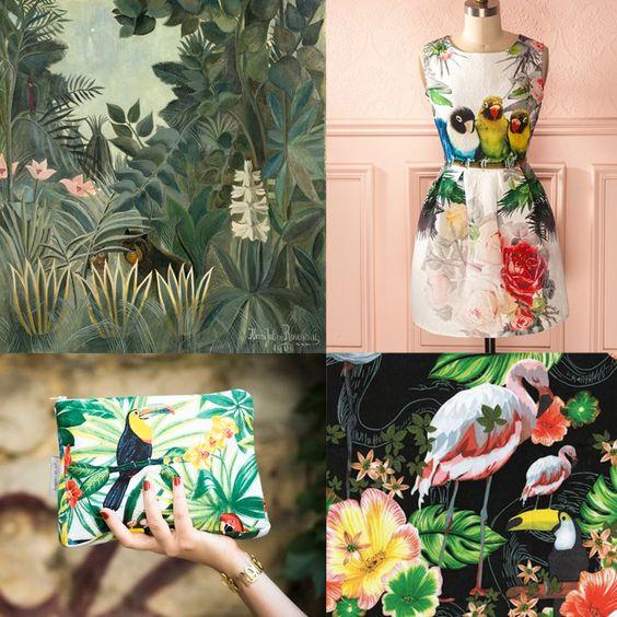 robe cocktail jungle / Mode inspirée des motifs tropicaux