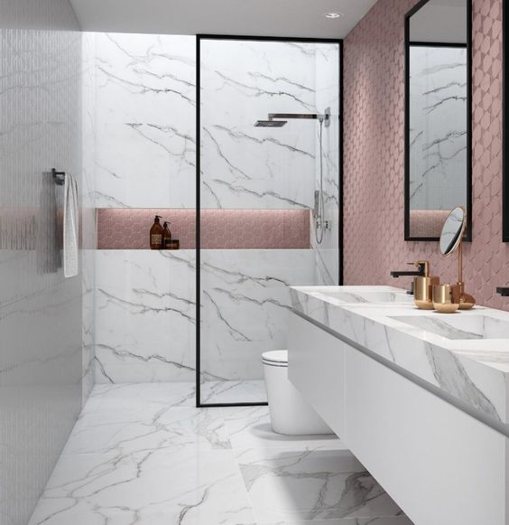 como combinar piso com revestimento: banheiro com revestimento branco