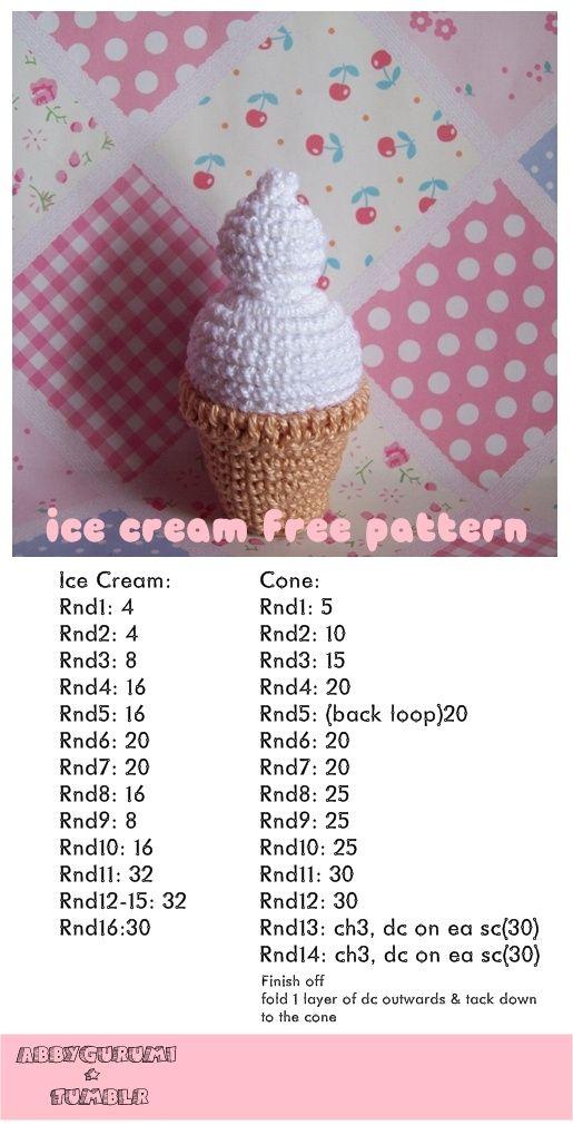 Amigurumi Ice Cream Tutorial : Ice, Free crochet and Crochet patterns on Pinterest