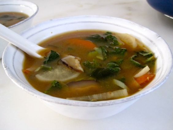 Winter Miso Soup with Ginger and Kale