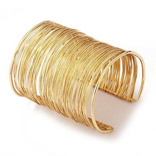 Bracelet Gourmette Jonc Manchette Ouvert En Métal Or Bijoux Femme Amazon fr Bijoux BJ # Bijoux En Bois Pour Femme