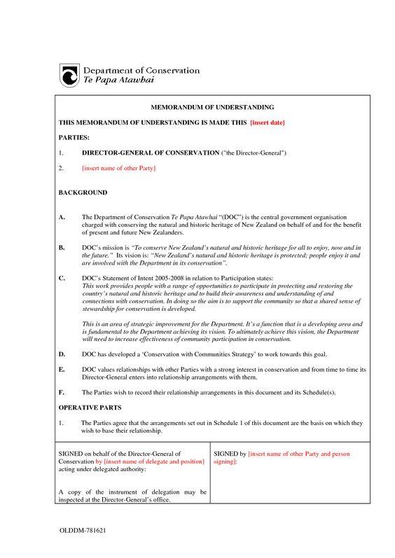 Memorandum of Understanding Sample Format Memo Templates - credit memo templates
