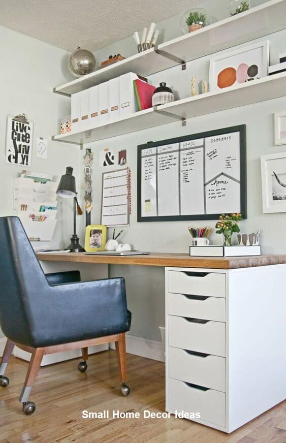 Small Home Office Decor Ideas In 2020 Small Bedroom Office Ikea Home Office Office Desk Designs