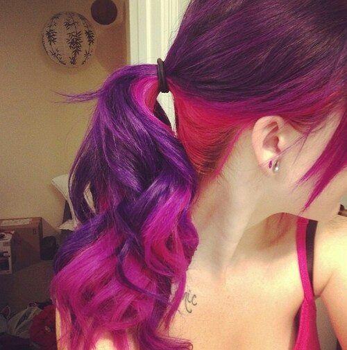 cute, fuccia, hair, hair color, pink, purple