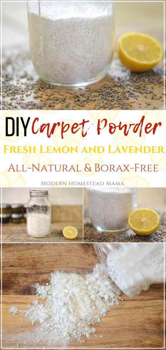 DIY Carpet Powder - Fresh Lemon Peel and Lavender (Borax-Free)