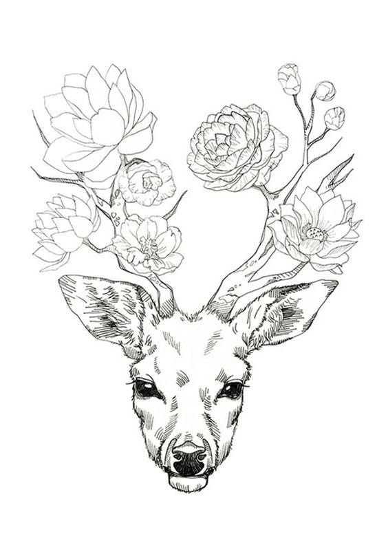 Madame Monsieur fleur de cerf par minyoplanet sur Etsy