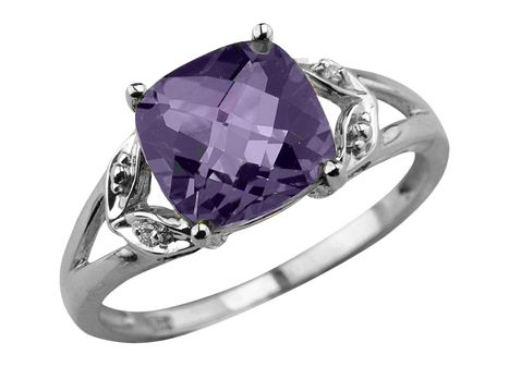 10K White Gold Amethyst Diamond Ring | Charm Diamond Centres