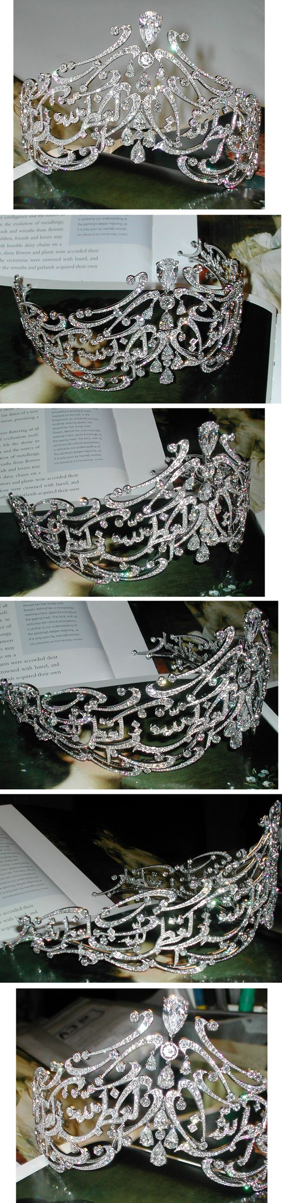 Arabic Scroll tiara for Queen of Jordan, over 1300 Diamonds and white gold