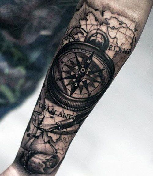 125 Best Forearm Tattoos For Men Cool Ideas Designs 2020 Guide Compass Tattoo Men Compass Tattoo Compass Tattoo Design