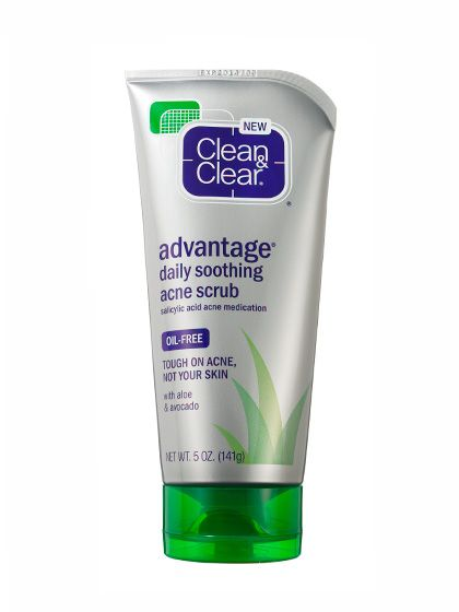 CLEAN & CLEAR ADVANTAGE DAILY SOOTHING ACNE SCRUB For an acne-fighting face scrub, it's supergentle: While the creamy formula's salicylic acid tackles breakouts, avocado and aloe soothe skin.