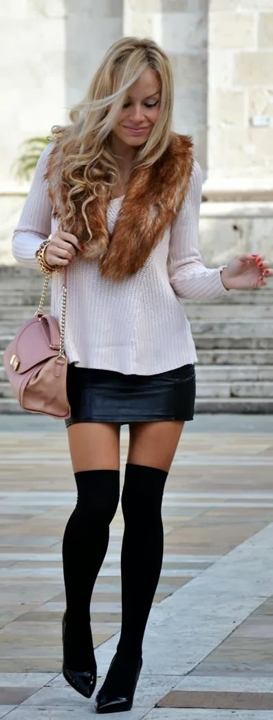 Cream sweater leather skirt high heel shoes | Fashion | Pinterest ...
