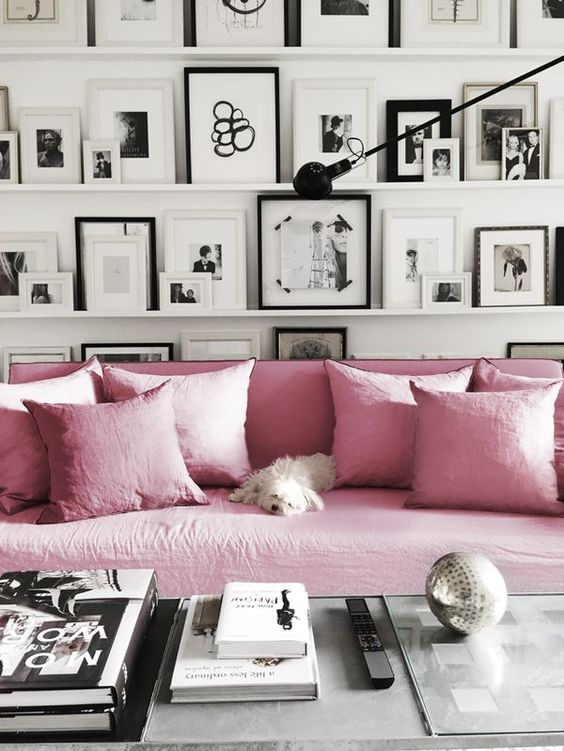 Black, white, and pink.: