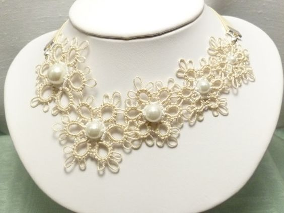 Tatted Lace Snowflake Necklace in with modern color choices -Flurry MTO in ecru white black or silver