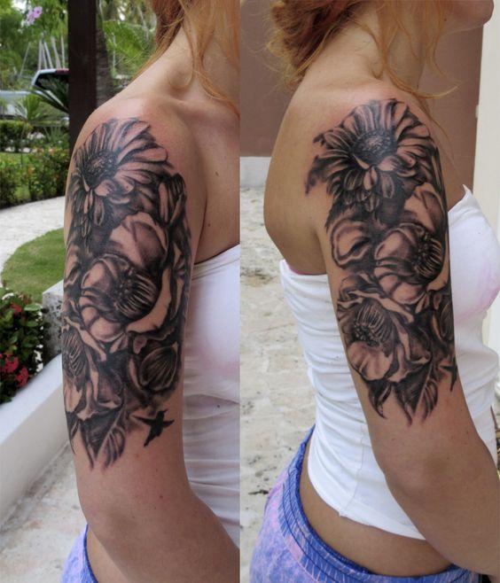 A good start for a half sleeve on a gorgeous norwegian for Norwegian flower tattoo