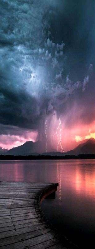 Sunset with lightning storm