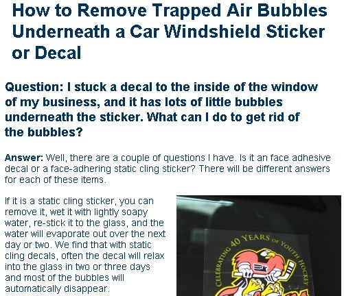 Removing Trapped Air Under A Car Decal Stuck Onto The Windshield - Custom vinyl decals for glass removal options