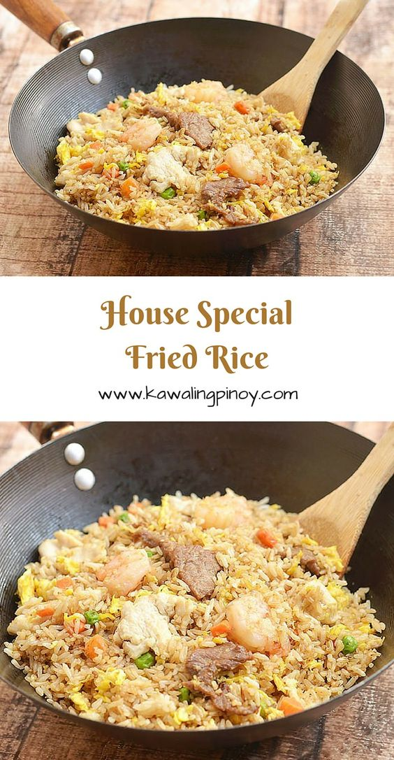 House special fried rice is a popular rice dish consisting of generous portions of shrimps, beef and chicken along with the customary scrambled eggs and vegetables; learn the simple technique which turns this hearty one pot meal from good to ultra special!