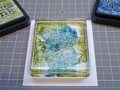 distress ink on clear block makes cool print on a card she also added a top coat