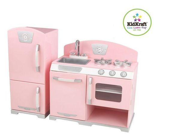 Kitchen Refrigerator Play Kids Toy Fridge Set Pretend Cooking Stove Girls Playse #Kidkraft